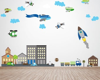 Planes Decal, Rocket Decal, Cars Decal, City Scene Decal, Ecofriendly No Toxins No PVCs Decals, WD800