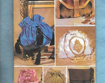 Butterick 3485 Historical Ladies' Handbags, Purses And Clutches, UNCUT