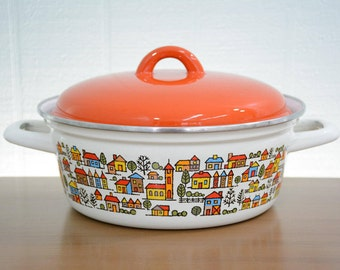 Metal Enamel Pot with Cute Houses and Orange Lid