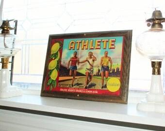 Framed Fruit Crate Label Sunkist Athlete Vintage 1940s