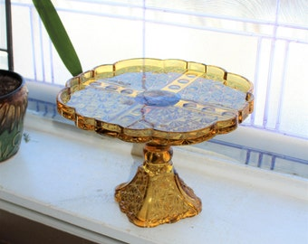 Vintage Amber Glass Cake Stand Daisy and Button