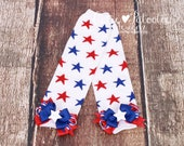 READY TO SHIP: Leg Warmers - White Red Blue - Star Print with Red White & Blue Bows - 4th of July Accessory - Firecracker Cutie - One Size