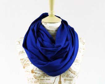 Doctor Who Infinity Scarf, Tardis Blue Scarf, Jersey Scarf, Circle Scarf, Cobalt Royal Womens Gift for Her Ideas Scarf, Winter Circle Scarf