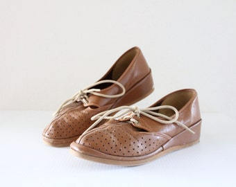 c1970's Caramel Loafers 7.5/8 See Details