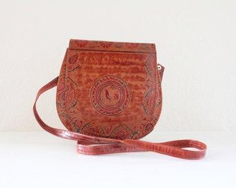 Stamped Cross Body Saddle Handbag