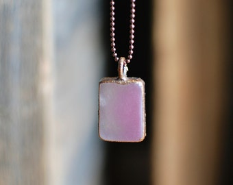 Pink Ombre Vodka Copper Necklace | Upcycled Glass Bottle Jewelry