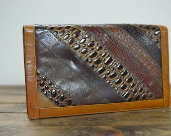 Genuine Snakeskin Glazed Leather Clutch - 70s - VARON