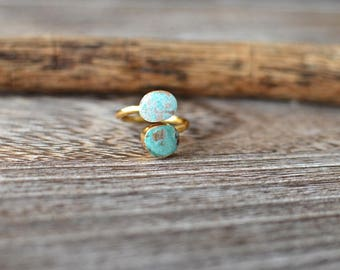 Double Turquoise Ring - Seafoam