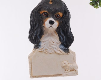 Cavalier King Charles Christmas Personalized Ornament - Black Tan and White Cavalier King Charles Dog Ornament - Made in the USA  (302)
