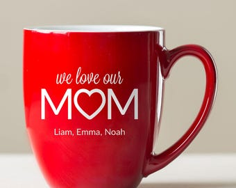 Personalized Mom Coffee Mug: Large Engraved Mom Mug, Personalized Gift for Mom, Mom Coffee Mug, Mom Gift from Child Kids,  SHIPS FAST