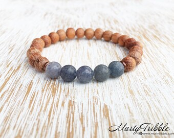 Aventurine & Raw Wood Bracelet, Blue Healing Stone Bracelet, Gemstone Jewelry, 5th Chakra Bracelet, Earthy Boho Bracelet, Buddhist Jewelry
