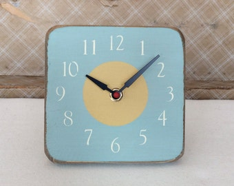 Unique Wood Wall and Desk Clock - Light Blue and Golden Yellow