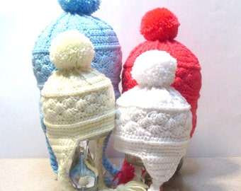 Baby winter ski hat.  Crochet baby hat with braided straps, earflaps, and pom pom.  Made to order baby infant toddler winter hat.