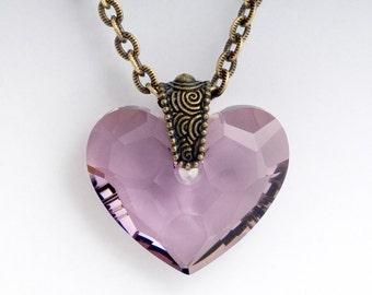 Purple Heart Jewelry, Crystal Heart Necklace, Purple Crystal Jewelry, Heart Pendant Nickel Free Brass Necklace, Purple Jewelry, Chiela