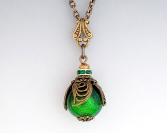 Forest Green Murano Glass Jewelry, Kelly Green Venetian Glass Necklace, Nickel Free Brass Filigree Pendant Necklace Green Bead, Chava