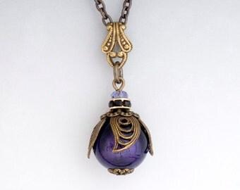 Plum Murano Glass Pendant Necklace, Purple Venetian Glass Jewelry, Glass Bead Necklace, Filigree Necklace Nickel Free Brass, Charlene