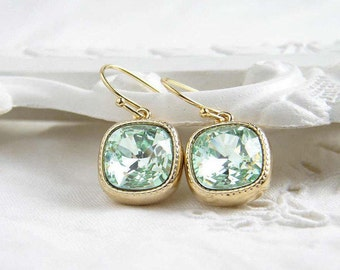 Swarovski Earrings ~ Chrysolite ~ Gift for Her ~ Cushion Cut ~ Light Green Earring ~ Light Peridot ~ Simple Modern