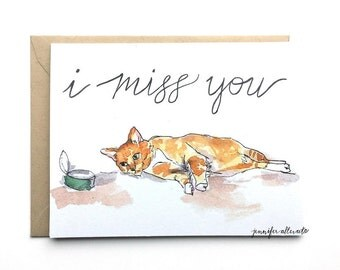 I miss you card cat funny illustration hand lettering greeting card