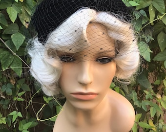 Vintage Black Velvet Bow Cage Hat with Dot Veil 50s