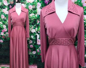 Sylvia Ann Dark Pink Rhinestone Swarovski Knit Maxi Dress 70s