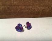 Purple Iridescent Mermaid Scale Stud Earrings