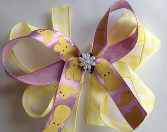 The Here With My Peeps - Yellow/Purple Easter Bow