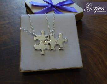 Two Chunky Handmade Puzzles with Initials and Hearts, in Silver