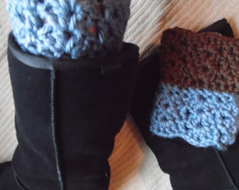 Dual Colored, Two-in-One Chunky Boot Cuffs, Chocolate Brown and Yellow, Pink, Denim or Orange, Boot Toppers - Medium
