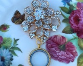 Gold Rhinestone Fleurette Brooch Memory Locket, Vintage Wedding Bouquet Photo Charm, Bridal Bouquet Photo Locket, MoniquesBijouxStudio