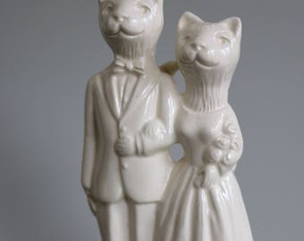 Cat Couple Handmade Wedding Cake Topper