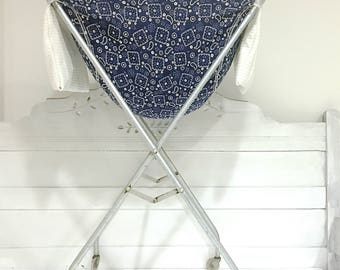 Vintage Metal Laundry Basket Wire Basket on Stand