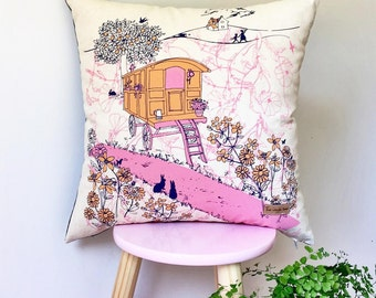 Gypsy Caravan Cushion Cover in pink & orange.