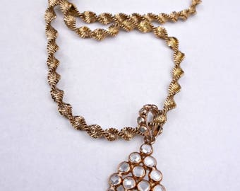 SALE Rose Gold Vermeil Necklace, White Topaz, Rose Gold Pendant, White Topaz Rose gold Necklace  Now 150.00 Was 175.00