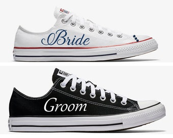 Custom Bride and Groom Wedding Converse White and Black Hand Painted