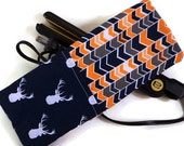 Navy Orange Chevron with Stag Silhouettes Travel Flat Iron Case, Curling Iron Case, Hot Iron Case, Christmas Gift for Her