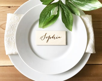 Wooden place cards, wedding table decor, place card names