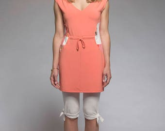 Basic Tunic - Sleeveless tunic with V-neck and patchwork - Coral tangerine tunic - 4 seasons tunic - made in Quebec - Ecodesign - Sale