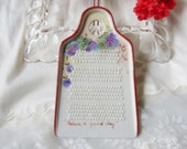 Small Porcelain Grater, Signed Hand Zester with Hand Painted Grape Vine