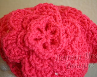 """Coral Pink Crocheted Flower Cloche Hat 20"""" FREE SHIPPING"""