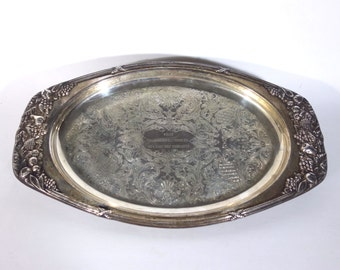 Vintage Silver Plate Oval Tray, Chased Engraved Tray Trophy, Silver Serving Dish, US Army Infantry Command, Wedding Holiday