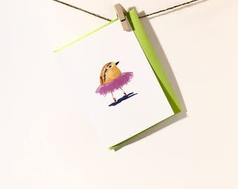Bird Card. Ballet. Ballerina. Little Girl. Girl card. Girl stationery. Ballet bird. Pink. tutu.