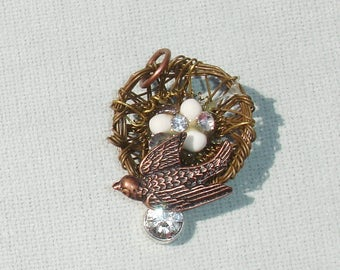 Mixed Metals Bird Nest with Bird and Rhinestone - Jewelry Making Supplies