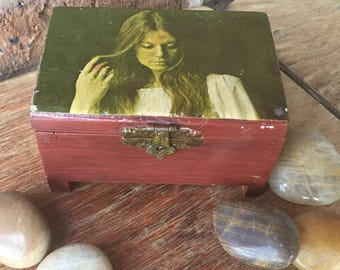 Little Cedar Box with Vintage Photo of Woman Decoupaged on Top and Floral Pattern Fabric Inside