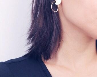 Half moon front back earrings  - geo earrings - boho earrings - two ways earrings