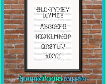 PATTERN ONLY Old-Tymey Wymey stitched alphabet with blank 8x10 5x17 grid for your custom design