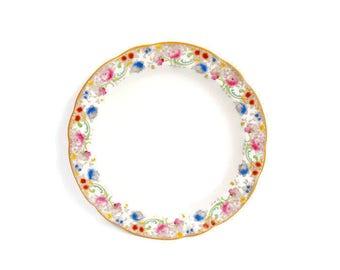 Antique Doulton Burslem Melrose Pattern Large Round Platter Made in England Pink and Blue Round Serving Dish Royal Doulton
