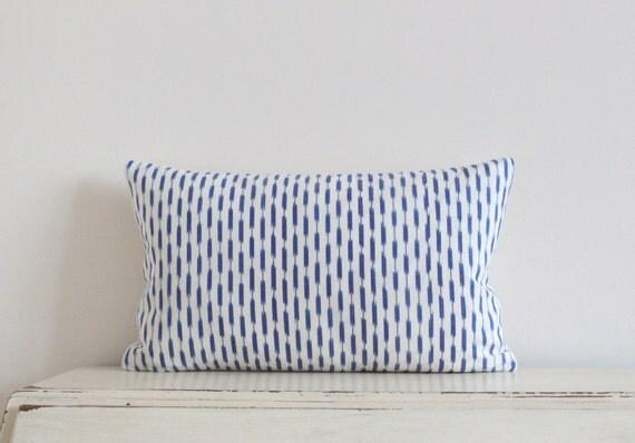 """Dash Ikat pillow cushion cover 12"""" x 20"""" in denim blue"""