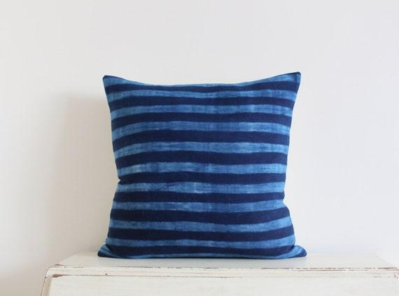 "Indigo stripe shibori pillow cushion cover 20"" x 20"""