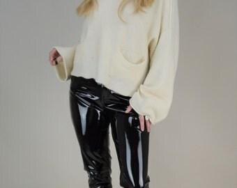 80s Avant Garde Cream Oversized Slouchy Bell Sleeve Cropped Sweater Jumper M / L