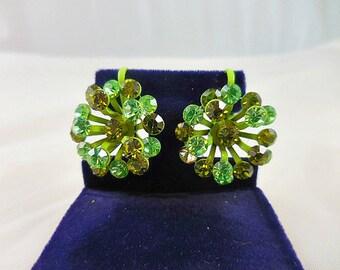 Chartreuse Green Rhinestone Clip Back Earrings